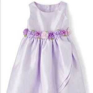 Girls Flower Applique Dress - Grape Mist